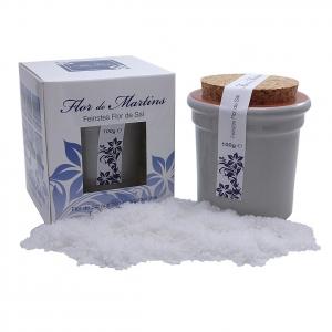 Flor de Martins - feinstes Flor de Sal - Behälter hellgrau