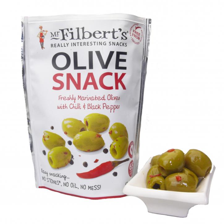 Grüne Halkidiki-Oliven mariniert mit Chili & Pfeffer