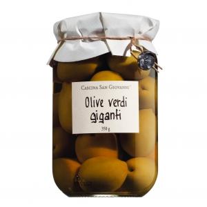 Olive verdi giganti (grüne Riesenoliven mit Stein)