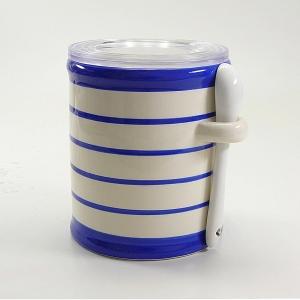 Salzbehälter blaugestreift mit Löffelchen