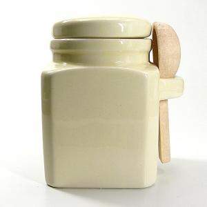Salzbehälter in grau mit Holzlöffel - large