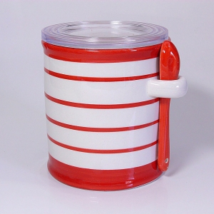 Salzbehälter rotgestreift mit Löffelchen