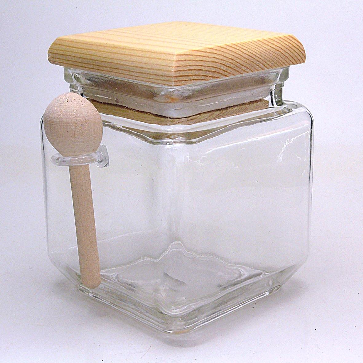 glasbeh lter mit holzdeckel und l ffel hier bestellen. Black Bedroom Furniture Sets. Home Design Ideas