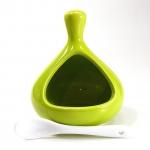 Salzbehälter mit Löffel in grün