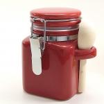 Salzbehälter Bügelverschluss mit Löffel in rot - groß