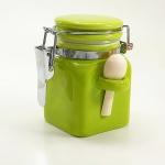Salzbehälter Bügelverschluss mit Löffel in grün - klein