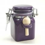 Salzbehälter Bügelverschluss mit Löffel in lila - klein