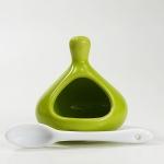 Mini Salzbehälter mit Löffelchen - grün