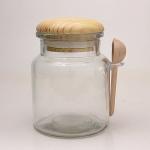 Glasbehälter rund mit Holzlöffel